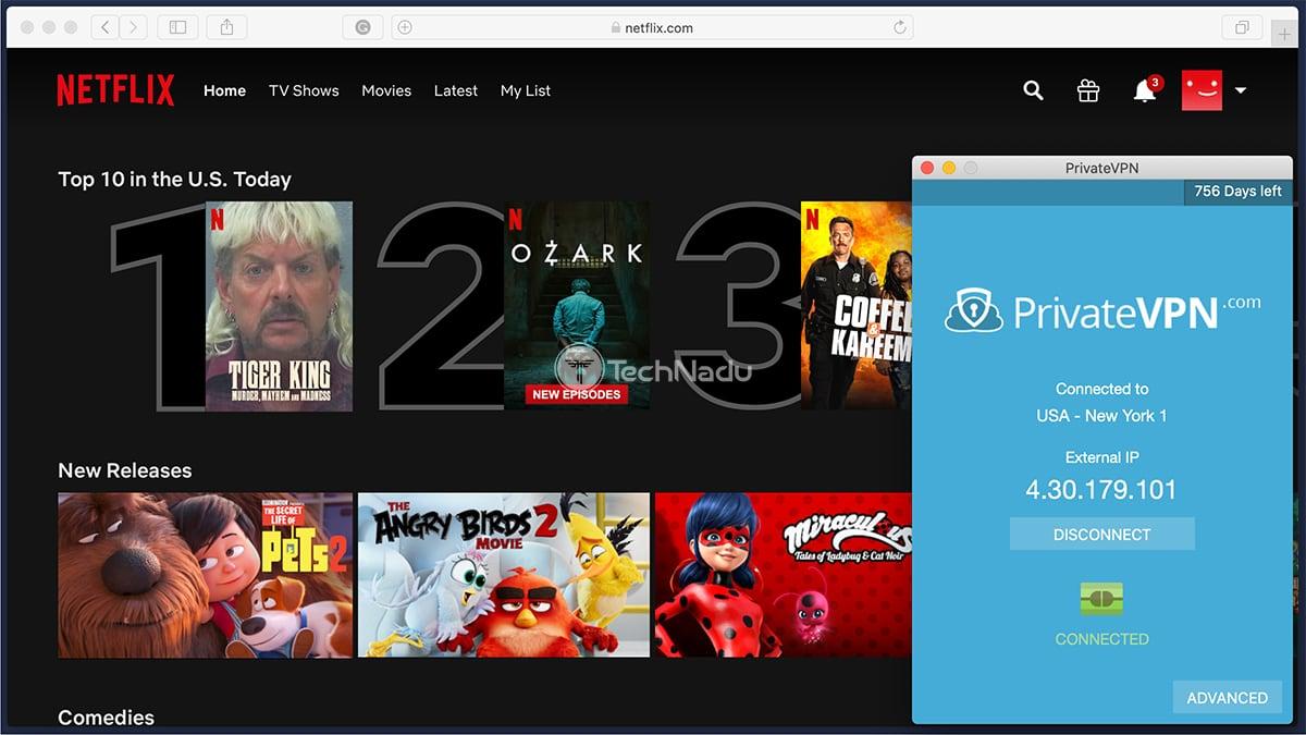 PrivateVPN Unblocks Netflix USA