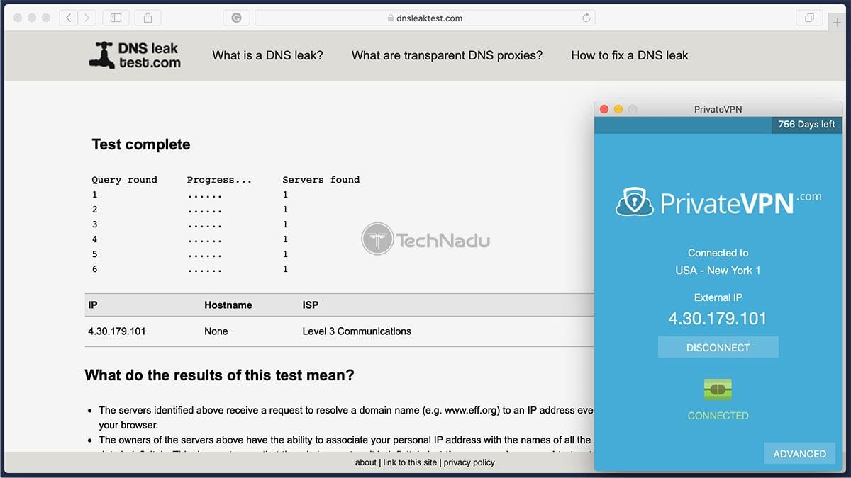 PrivateVPN Passes DNS Leak Test