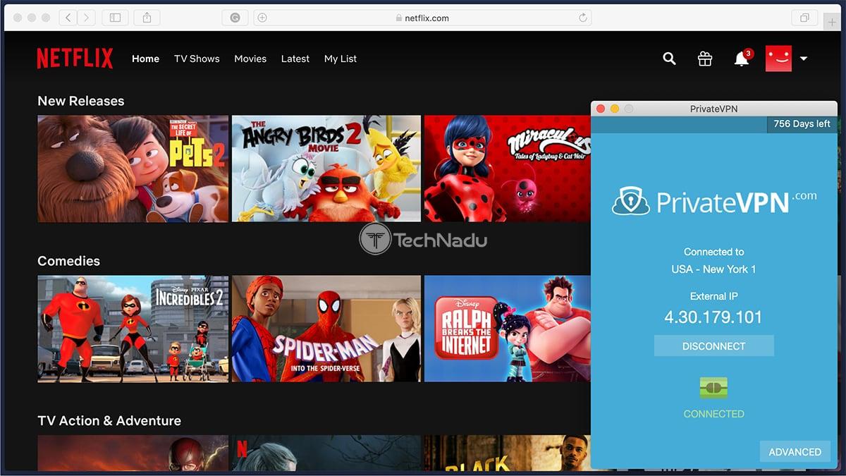Netflix USA Unblocking via PrivateVPN