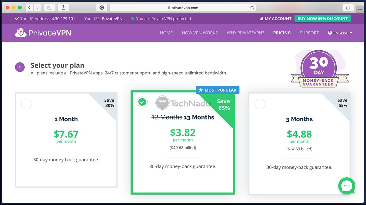 Link to PrivateVPN Pricing Page