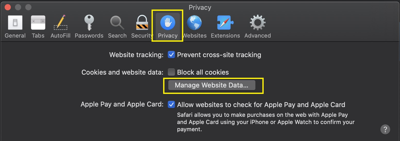 How to clear cookies in Safari on macOS.