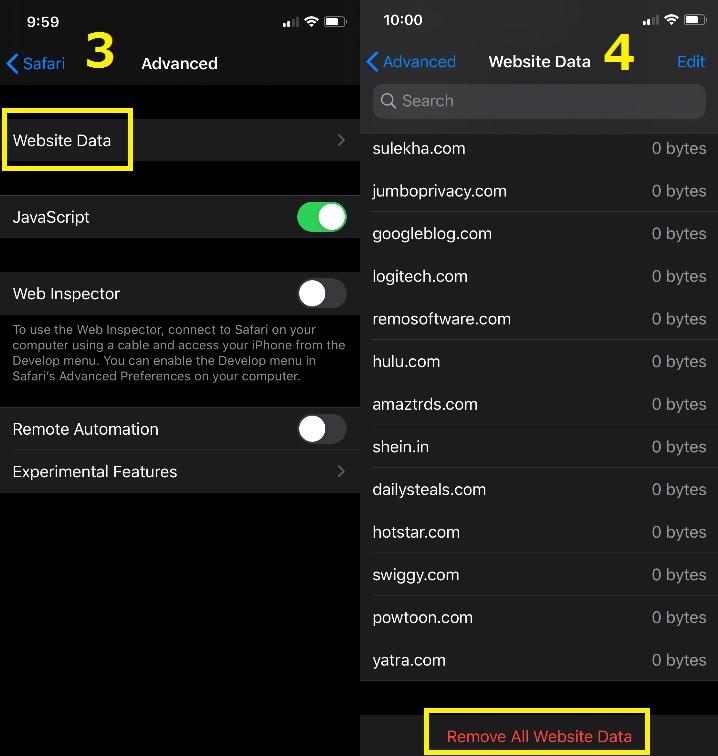 How to delete cookies in Safari on iOS.