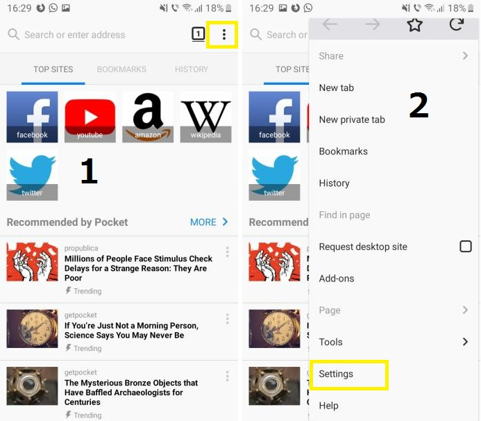 How to delete cookies in Firefox on Android.