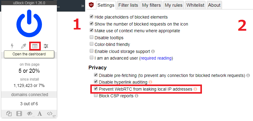 How to prevent WebRTC leaks with uBlock Origin.