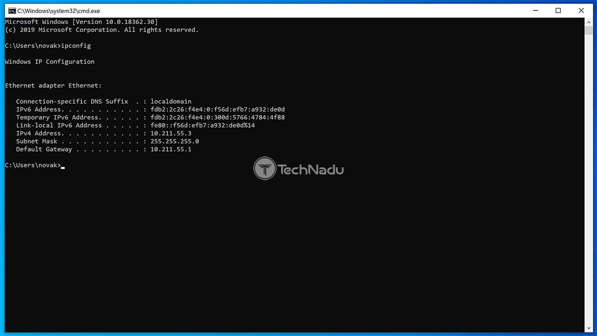 Default Gateway IP Command Prompt Windows 10