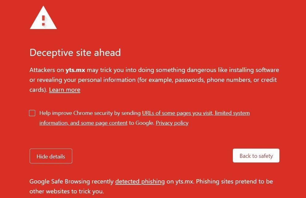 YTS phishing warning