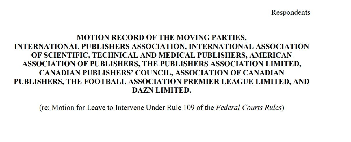 screenshot from the publishing and sports organizations' motion to intervene in the site blocking appeal