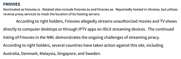 Fmovies USTR listing 2020 inaccurate