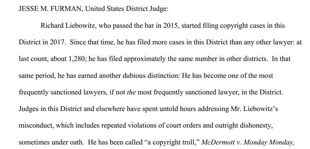 Judge Furman order sanctions against Richard Liebowitz