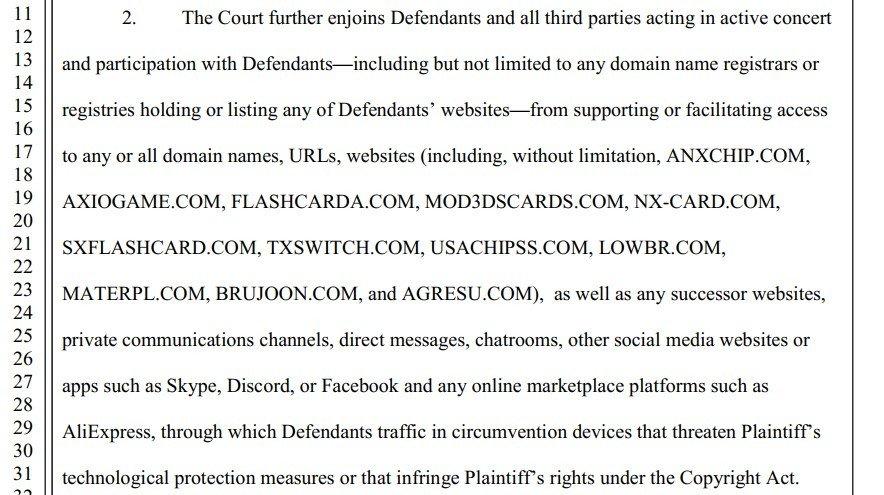 proposed nintendo injunction