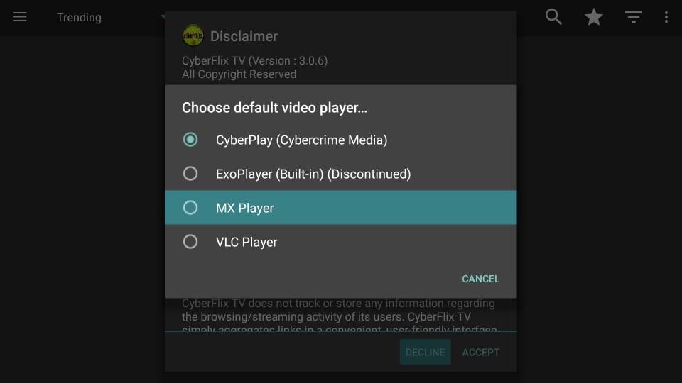 select mx player for cyberflix tv on firestick