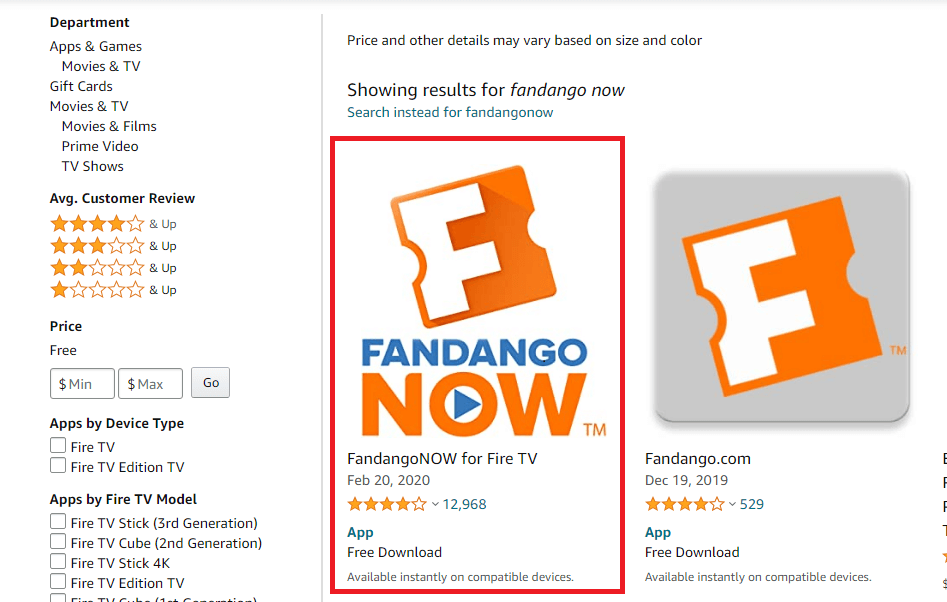 select the FandangoNOW app
