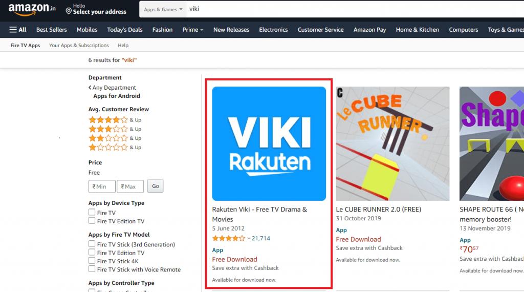 select Rakuten Viki - How to Install Viki on Firestick