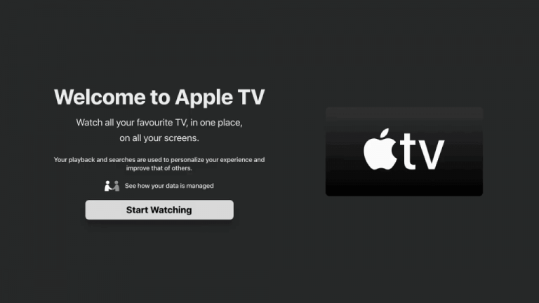 Apple TV on Nvidia Shield: select Start Watching