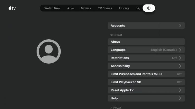 Apple TV on Nvidia Shield:  select Account.