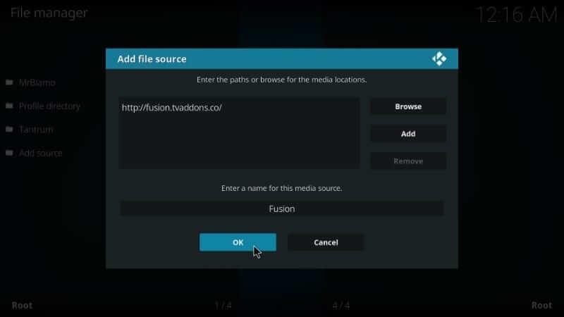 click ok -Install Fusion Addon on Kodi